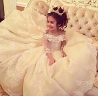 ingrosso trimmer per le ragazze-2017 Illusion Bodice Ball Gowns Pageant Abiti Bambini Pizzo Taglio Compleanno indossando abiti da festa con strati di volant Flower Girl Dress