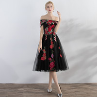 сиреневое платье выпускного вечера из двух частей оптовых-С плеча чай длина серый Пром платья красный вышивка модные платья A-Line дешевые вечерние платья vestido Бейл