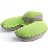 Wholesale Blow Up Plane - U Shaped PVC Air Pillow Shin Guard Inflatable Neck Protective Blow Up Cushion Flocking Folding Outdoor Camping Plane Travel Neck Pillows
