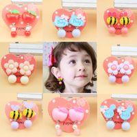 Wholesale Earings Designs - 2017 Childrens Cute ear clips design accessory Jewelry Baby girls Resin earings Girl's Stud Earrings Kids 28 styles DHL free shipping