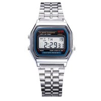 Wholesale Tungsten Digital Watch - LED Digital Watches Stainless Steel Mens Watches Students Electronic Sports Watch Date Multi-Purpose Wrist Watches For Mens F-91W @CA