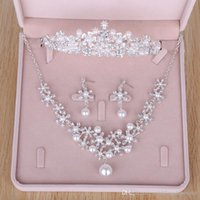 Wholesale Tiaras For Weddings Cheap - Rhinestones Pearls Wedding Bridal Jewelry Cheap Bridal Jewelry Set 2017 Bridesmaid Crystal Jewelry For Party Necklace