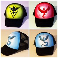Pokemon Go Hysteresen-Hut Hottest Taschen-Monster Caps Fashion Team Valor-Team Mystic-Team Instinct Sommer Caps Mesh-Herren Snapbacks für Billig