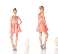 Wholesale Sexy Mini Dresses China - Orange Two Piece Crystal Short Prom Dresses 2016 A-line Beaded Organza Sheer Neckline Backless Sexy Homecoming Gown Cheap Party China Dress