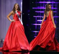 kırmızı akşam önlükleri usa toptan satış-2019 ÖZLEDIM TEEN ABD Pageant Gelinlik A-Line Kırmızı Saten Bateau Kesit Taraf Ünlü Elbise Ruffled Örgün Abiye giyim Custom Made