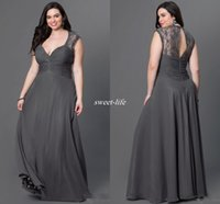 Wholesale Empire V Neck Bridesmaid Dress - Gray Chiffon Plus Size Bridesmaid Dresses 2016 Sexy Open Back V Neck Lace Cap Sleeves Long Cheap Formal Occasion Dress Mother Evening Gowns