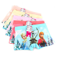 Wholesale Underwear Children Girls - Europe and the United hot selling hot cartoon snow romance boxer briefs children cotton candy color four angle girls underwear free shipping