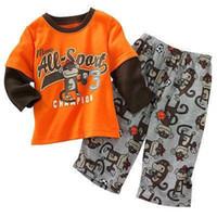 Wholesale Kids Pants Trouser Monkey - 2017 Fashion Monkey Boys T-Shirts+Trouser Suits Children Sport Suit Kids Tracksuits Long Sleeve Tees Shirts Pants 100% Cotton