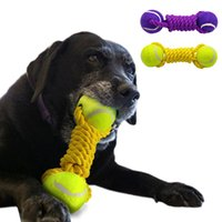 Wholesale large rope dog toy - Dog Ball Rope Tug Toy Tennis Dogs Playing Training Toys For Pet Chewing For Medium Large Dogs Yellow Purple Colors