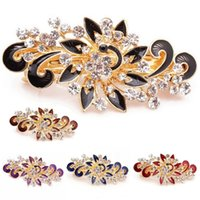 Wholesale Peacock Hair Barrettes - Fashion Women Girl Colorful Jewelry Shinning Rhinestones Crystal Hair Clip Peacock Hairpin