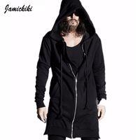 люди из панк-рока оптовых-Wholesale-Jamickiki 2016 Vintage Hoody Punk Rock Hoodies Extended Side Zipper Sweatshirts Wizard Hat Men Hip-hop Black Hoodies S-XXL