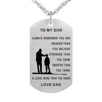 colar do filho da mamã venda por atacado-55 cm Paizinho Mamãe Para Filho Dog Tag Colar De Aço Inoxidável Militar Mens Jóias Personalizado Dogtags Pingente Presente de Amor Personalizado