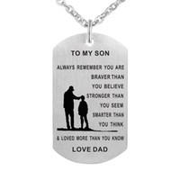 ingrosso doni dei papà-55cm papà mamma a figlio cane Tag Collana acciaio inossidabile militare Mens gioielli personalizzati Dogtags Ciondolo regalo di amore personalizzato