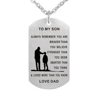 Wholesale Military Chain - 55cm Dad Mom To Son Dog Tag Necklace Stainless Steel Military Mens Jewelry Personalized Custom Dogtags Pendant Love Gift