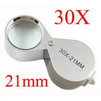 Wholesale Magnifying Glass Jewelers - Retail Package 30x21mm Loupe Magnifier Magnifying Jewelers Eye Glass Jewelry Diamond Microscope Pocket Loupes Free Shipping