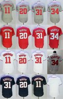 Wholesale Baseball Jerseys Washington - 11 Ryan Zimmerman Jersey Washington Mens 20 Daniel Murphy 34 Bryce Harper 31 Max Scherzer Baseball Jerseys Cheap Mix Order