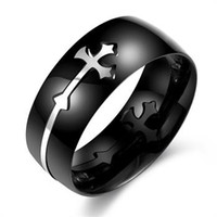 Wholesale China Wholesale Shipping Europe - 2017 Free Shipping black retro jewelry trendy hot Europe and the new fashion ring electrocardiogram titanium men 's cross rings for men