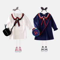 Wholesale Doll Boat - New Girls Dresses Children Clothes College Style Girl's Dress Custom Long Sleeve Pearl Bow Casual Kids Dresses Doll Collar White Blue A7346