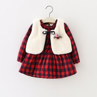 Wholesale Vest Candy Cotton Summer - Everweekend Kids Girls Plaid Fleece Dress with Vests 2pcs Sets Outfits Cute Children Candy Color Autumn Winter Clothing