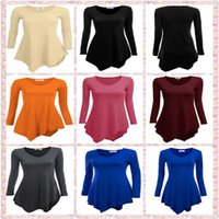 Wholesale Ladies Tunic Free Shipping - Women's Ladies Long Sleeved T-shirt Irregular Hem Knitting Tunic Top 7 Colors Brand New Good Quality Free Shipping