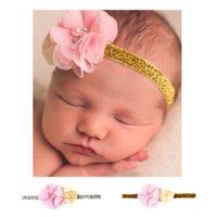 Wholesale Decorated Headbands - European New Pattern Baby Hair Decorate Baby Rose Bud Rhinestone Shivering Head Band Children Hair Accessorise Newborn Headband Props