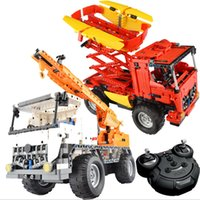 Wholesale Remote Mixer - Bululu Heavy industry RC Car Building Blocks Charging Remote Control Mixer Crane Car Toys for Boys Kids Educational Assembly Toy Gift Bricks