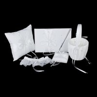 Wholesale Heart Ring Garter - Wholesale- Ivory Double Heart Diamante Wedding Guest Book,Pen,Ring Pillow,Flower Basket,Garter Set