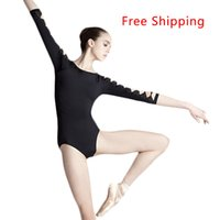 Wholesale Long Sleeve Dance - Wholesale-Cotton Spandex Backless Unitard Adult Girl Sexy Black 3 4 Long Sleeve Dance Practice Leotard Gymnastic Ballet Leotards For Women