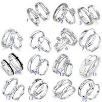 Wholesale Mixed Silver Jewerly - 925 Sterling Silver Jewerly Rings DIAMOND ENGAGEMENT RING & WEDDING BAND Couple Ring SET Mix 15Style