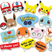 Wholesale Birthday Party Supplies Themes - 19pcs pack Pikachu Poke Party Supplies Photo Booth Props Suitable for Birthday Theme Party Great Party Decoration CCA7409 200set