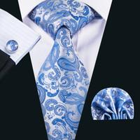 Wholesale silk handkerchief ties for sale - Group buy Blue Paisley Neckie Cheap Silk Tie Handkerchief Cufflinks Set for Gift Wedding Part BusinessN