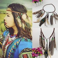 Hippy Indian Feather Diadema Boho Faux Peacock Feather Bead Hair Band Mujeres Moda Borla Headwear Feastiveal Accesorios para el Cabello A378