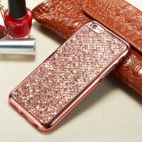 Wholesale Diamond Bumper Iphone 4s - For iPhone 7 Plus iPhone 6 Plus 5SE 4S Bling Glitter Electroplated Defender Starry Diamond Studded Rhinestone Armor TPU Case Bumper Cover