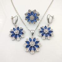 Wholesale Blue Enamel Flower Earrings - Flower 925 Sterling Silver Jewelry Sets Blue Sapphire Rainbow Topaz Necklace Pendant Drop Earrings Rings For Women Free Gift Box