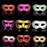 medias mascarillas de colores al por mayor-Los hombres de moda pintaron Edge Masquerade Masks Halloween Party Colored Drawing Edge circundante Máscaras faciales Half Face Bar Carnival Masks