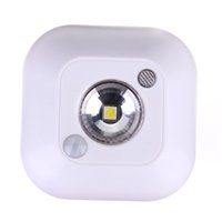 Wholesale Halogen Sensor Light - Mini Wireless Dual Induction PIR Infrared Motion Sensor Ceiling Body Sensor Night Light Battery Powered Porch Cabinet Lamp