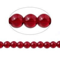 Wholesale Loose Garnet Beads - Garnet(Imitation)Loose Beads Round Red Transparent About 10mm Dia,37.7cm long,1 Strand(Approx 40 PCs Strand) 2016 new