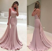 Wholesale Blush One Shoulder Dress - Blush Pink Backless Arabic Evening Dresses One Shoulder Beaded Mermaid Prom Dresses Cheap Sexy Formal Evening Gowns