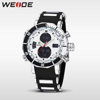 Wholesale Weide Digital Analog Gold - WEIDE Men Sports Watches Waterproof Military Quartz Digital Watch Alarm Stopwatch Dual Time Zones Brand New relogios masculinos
