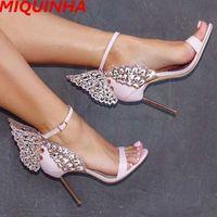 Wholesale Thin Metal Heel Sandals - New Designer Evangeline Glitter Angel-wing Sandals 3D Buttefly High Heels Shoes Women Metal Thin Heel Gladiator Sandals Mujer