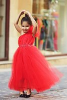 Wholesale Cute One Shoulder Dresses Cheap - Cute Red One Shoulder Tulle Long Flower Girl Dress Cheap Crystal Floor Length Dresses for Girls Party Dresses