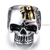 Wholesale Skull Polish - New Arrive Polished Bling 316L Stainless Steel Silver Gold Skull Skeleton Punk Jewelry Men's Rings US Size 8-12 High Quality Casting Gift