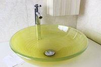 Wholesale Tempered glass hand wash basins wash basin hand painted art basin factory direct N