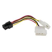 cable de alimentación pin molex al por mayor-Al por mayor-4Pcs Alta calidad 2 x Molex a PCI-E Adaptador de corriente 4Pin 4 pines 6 pines 6Pin Tarjeta de video gráfica convertidor de línea de cable