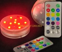 Wholesale 20pcs cm Diameter Waterproof Submersible Multicolors RGB LED Under Vase Light Base With Mini New Remote