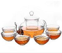 Wholesale european tea sets - European style glass tea set boutique Black Tea heat-resistant transparent cup teapot creativeEuropean style glass tea