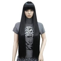 Wholesale long bob wigs bangs - Women's 80cm Wigs Neat Bang Black Long Straight Bob Natural Synthetic Full Wig