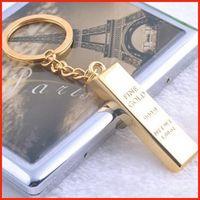 Wholesale cartoon gold bars online - Simulation pure gold gold bars gold brick Keychain keyrings key rings metal gold bullion bag hangs fashion jewelry Christams gift