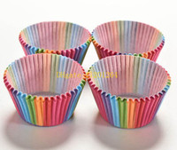 Wholesale Disposable Party Trays - Free shipping Rainbow Color Paper Cake Cupcake Liner Baking Muffin Box Cup Case Party Tray Cake Mold Decorating