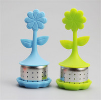 Wholesale heat resistant aluminum - Flower Shape Silicone Tea Infuser Kitchen Accessory Originality Cartoon Stainless Steel Tea Strainer Heat Resistant Colourful 4 2st C R